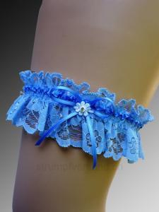 Strumpfband mit Schleife und Strassstein - blau/blau